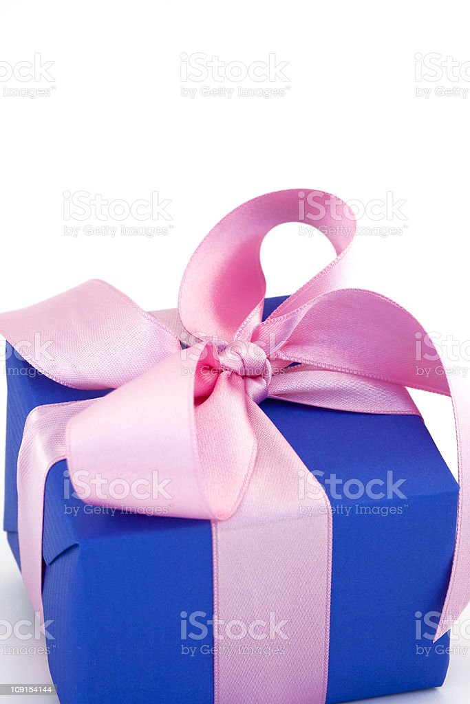 blue gift box with pink bow royalty-free stock photo