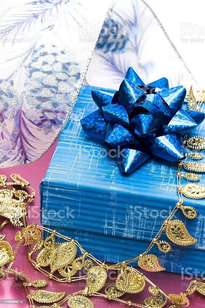 blue gift box with ribbon royalty-free stock photo