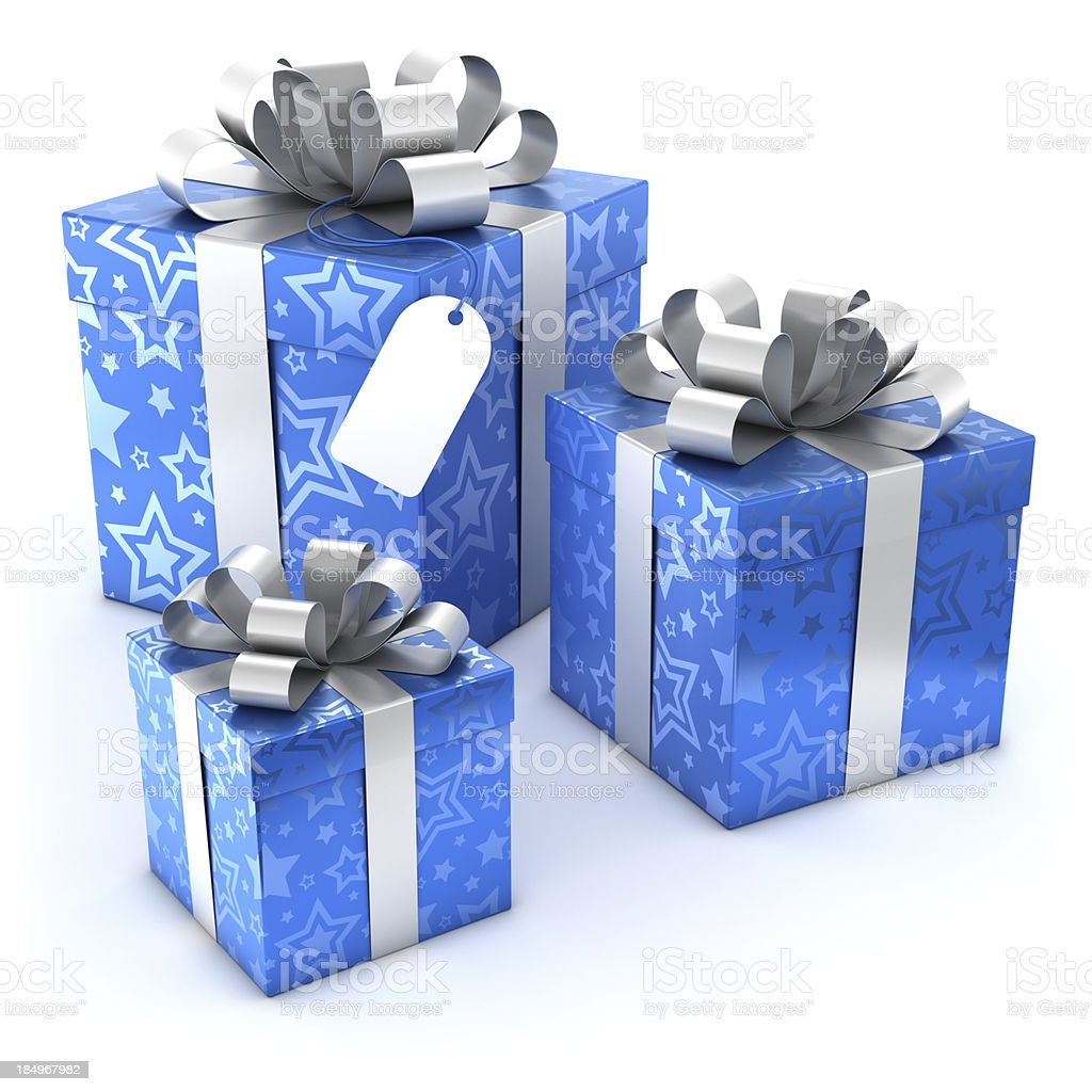 Blue gift boxes with blank label and clipping path royalty-free stock photo
