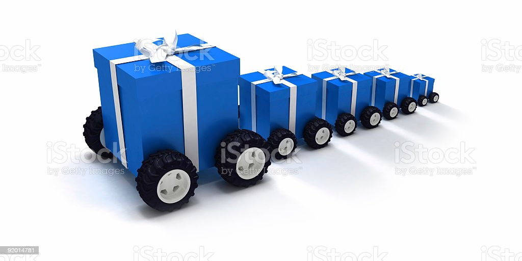 Blue gift convoy royalty-free stock photo