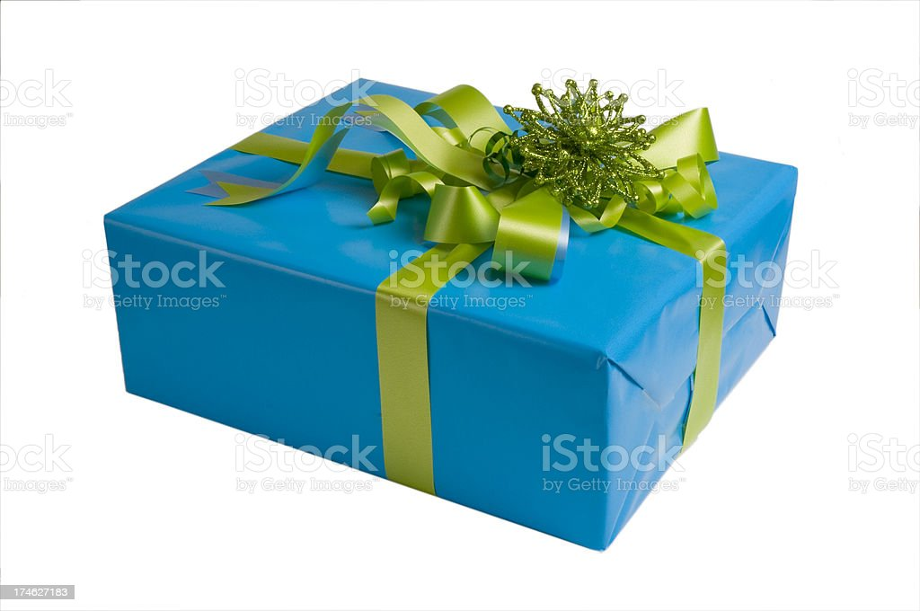 Blue Gift Parcel Isolated royalty-free stock photo