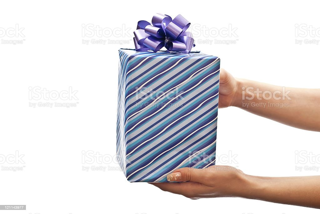 Blue gift royalty-free stock photo