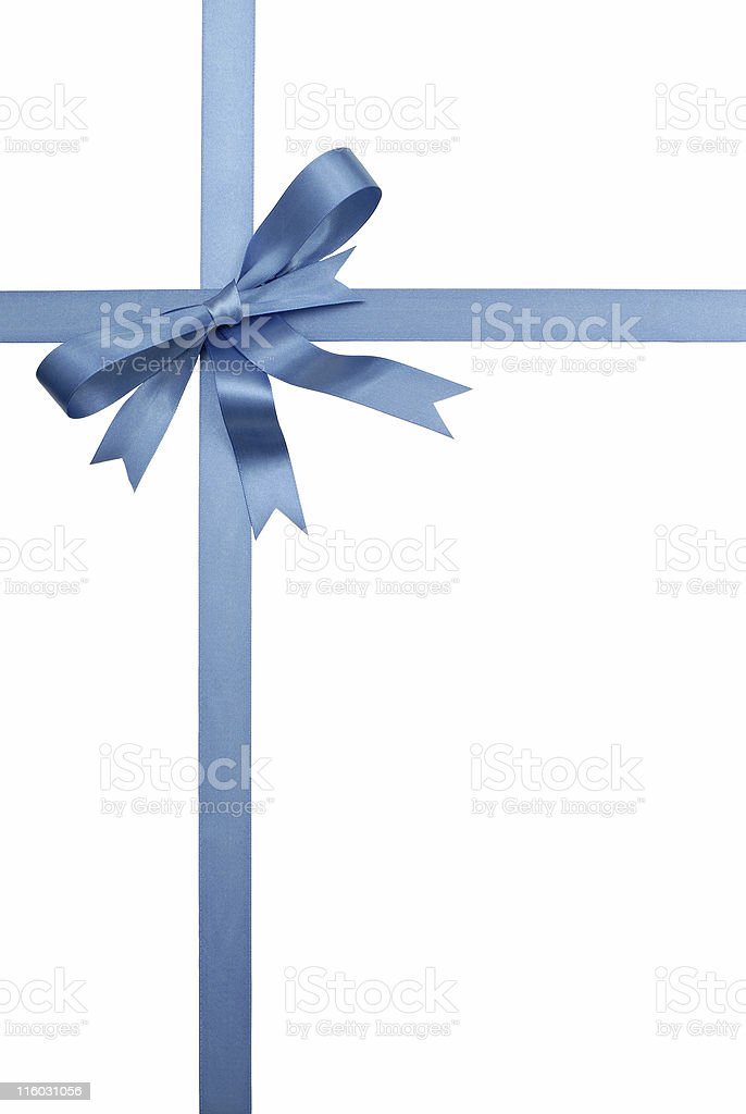 Blue gift ribbon and bow stock photo