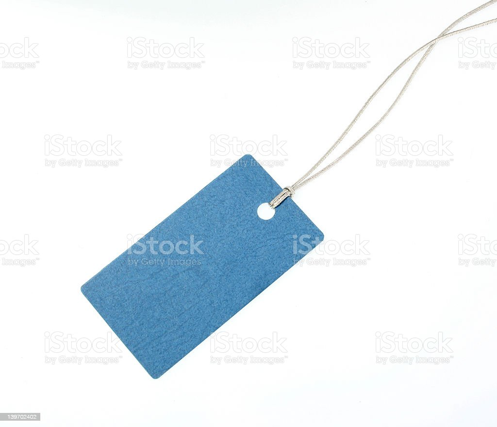 Blue Gift Tag with Argent Rope stock photo