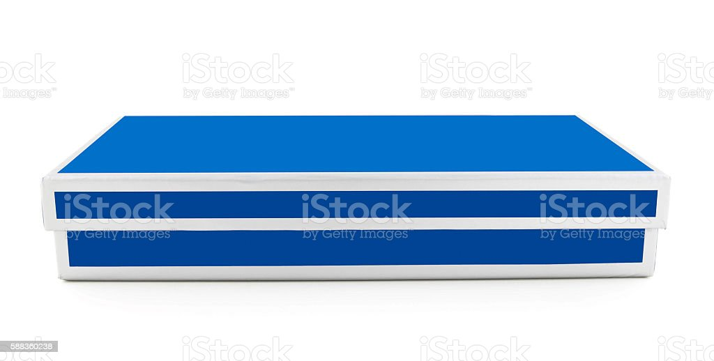 Blue giftbox isolated on white stock photo