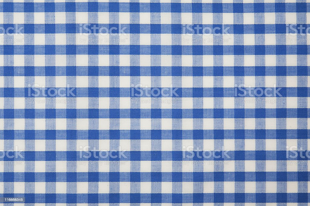 Blue Gingham Checked Fabric stock photo