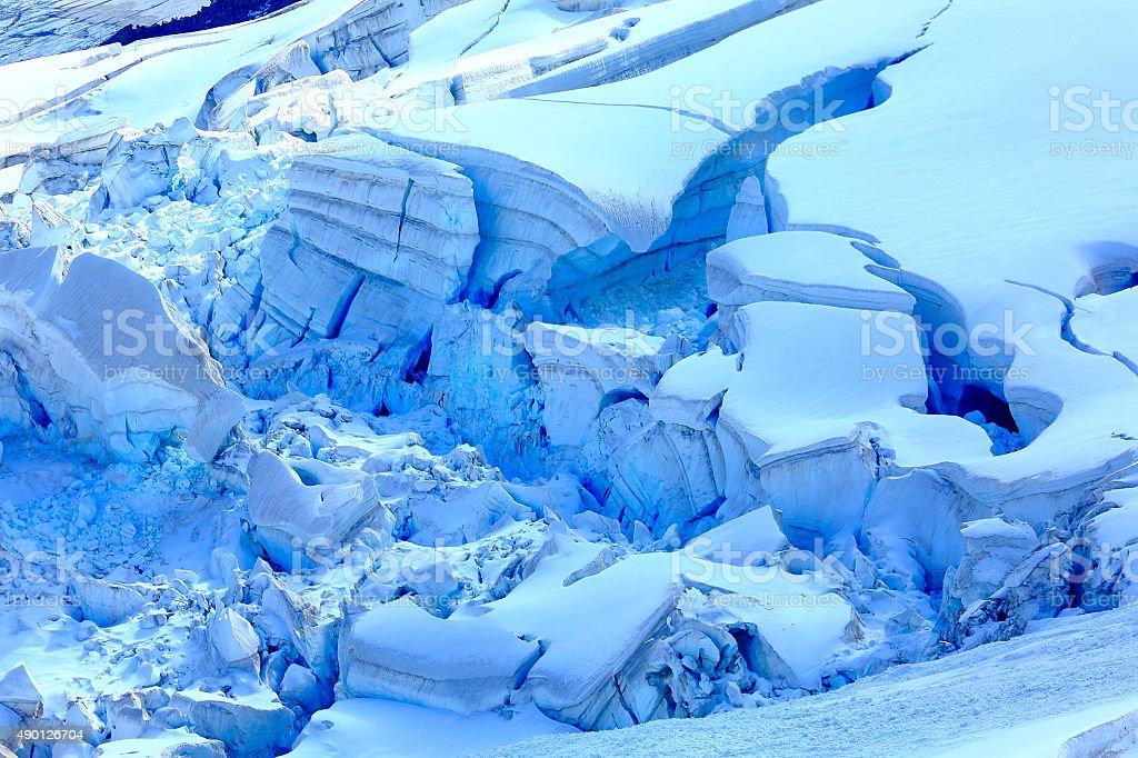 Blue glacier detail pattern - Aiguille du Midi alpine, Chamonix stock photo