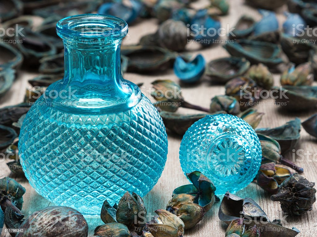 Blue glass bottle surrounded by dried plants stock photo
