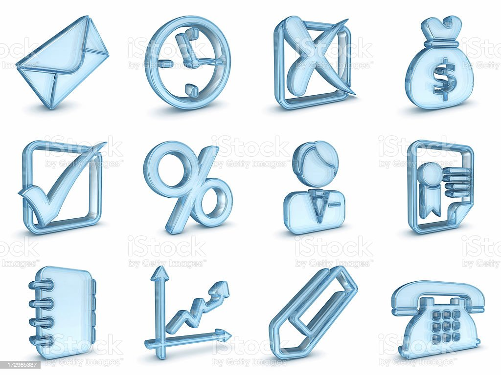 blue glass business icons royalty-free stock photo
