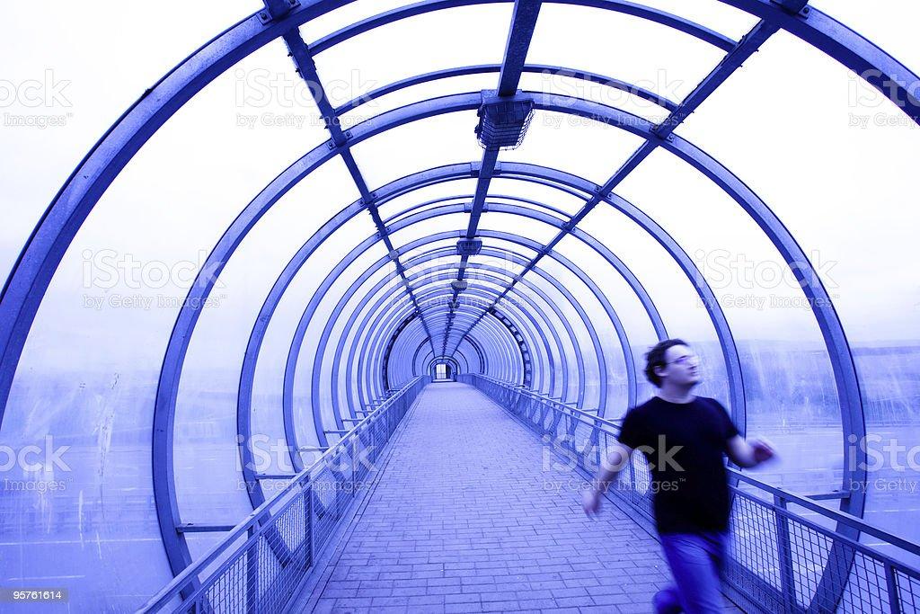 blue glass corridor stock photo