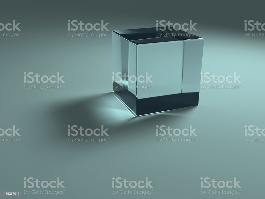 Blue glass cube royalty-free stock photo