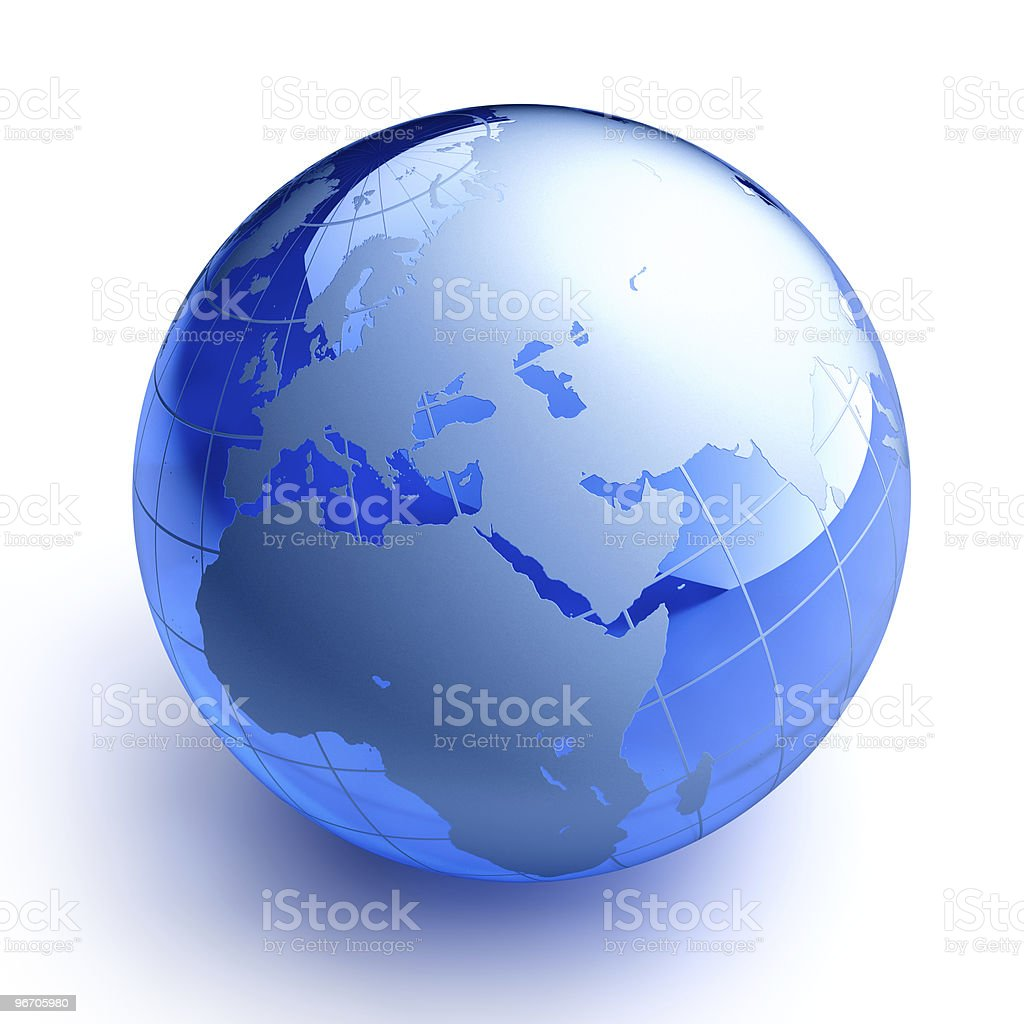 Blue glass globe on white background stock photo