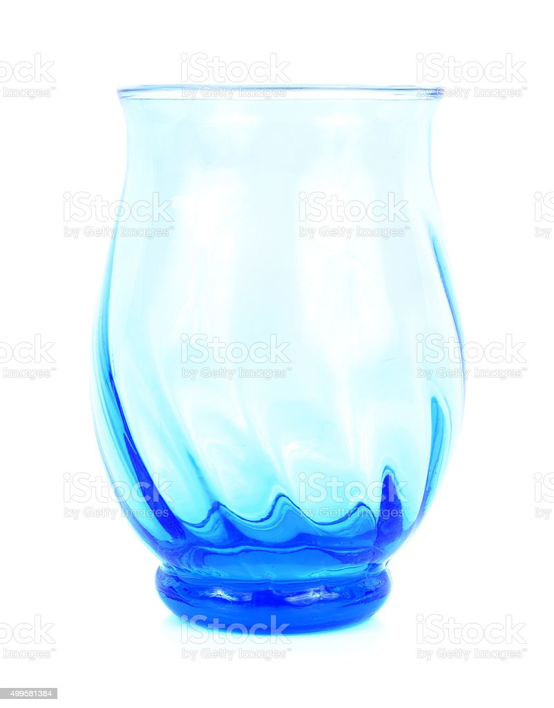 blue glass on white background stock photo