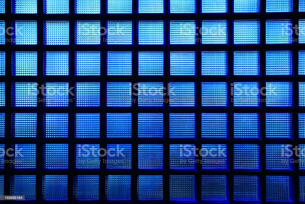 Blue glass tile wall. stock photo
