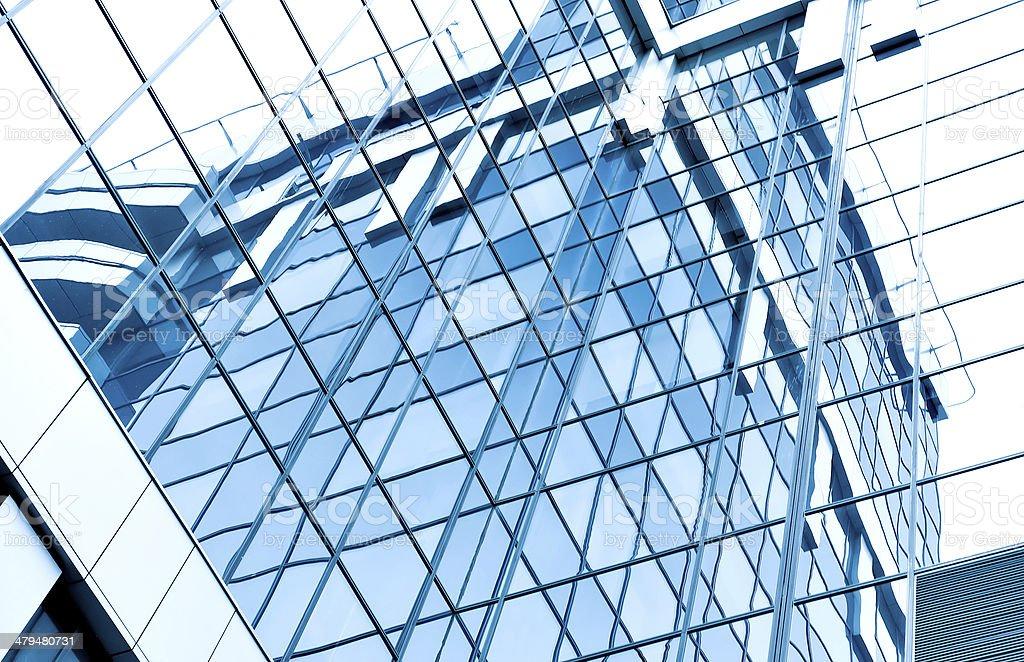 blue glass transparent wall stock photo