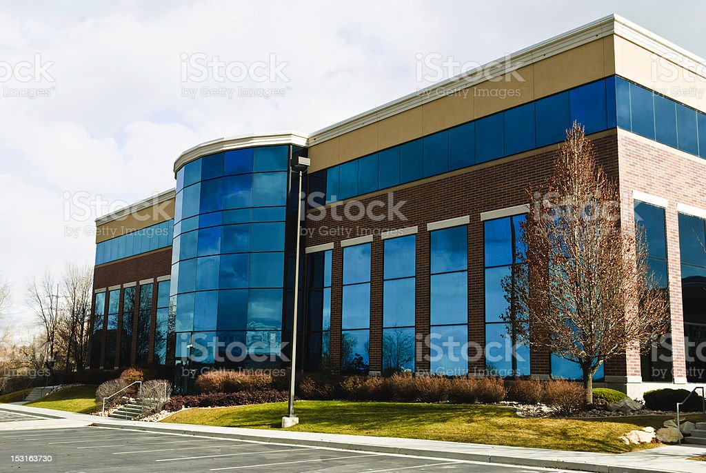Blue Glass with Brick royalty-free stock photo