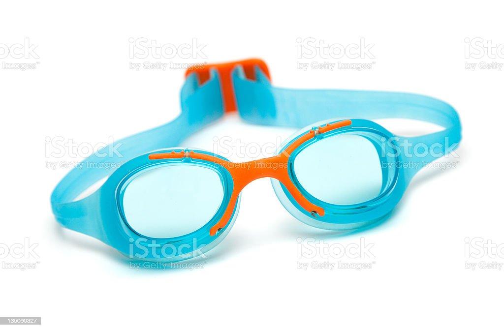 blue glasses for swim on white background stock photo
