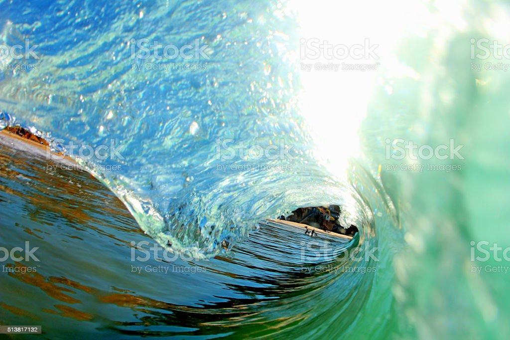 blue glassy wave stock photo