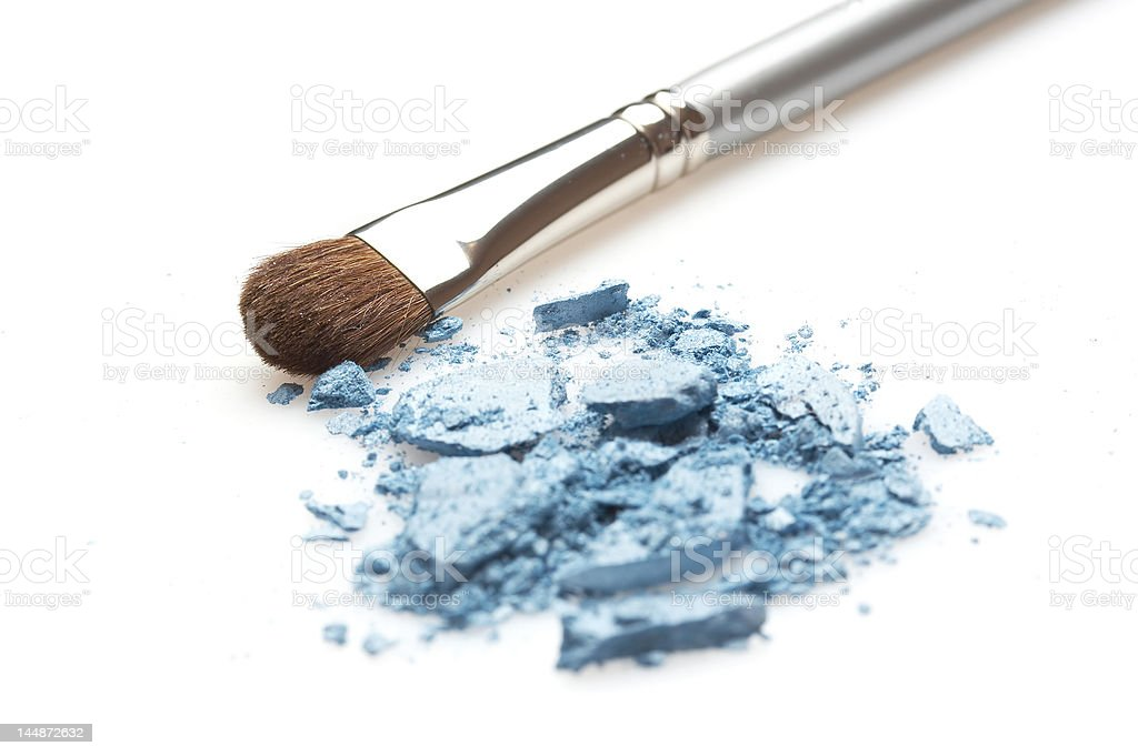 blue glittering eyeshadow and silver brush royalty-free stock photo