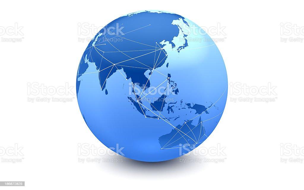Blue Global Connections: Eastern Hemisphere stock photo