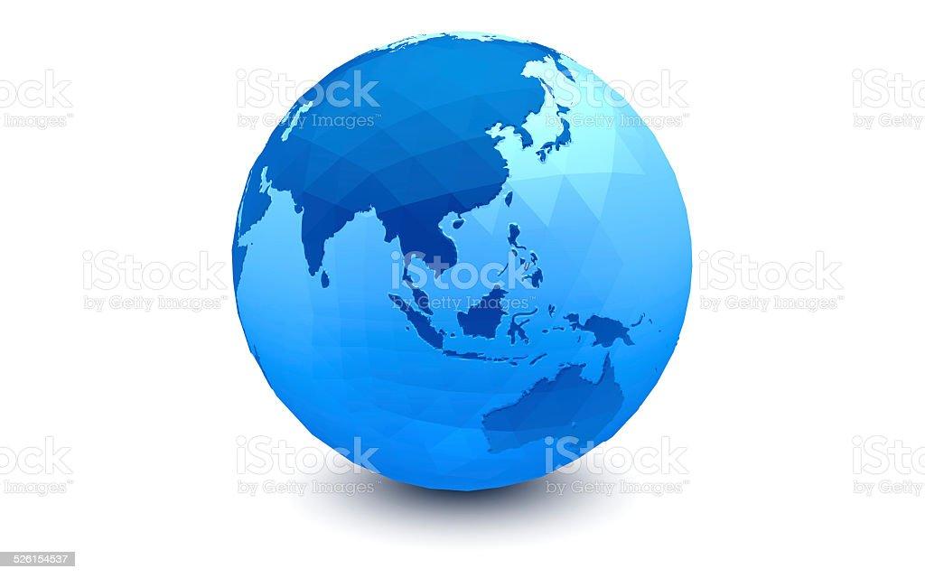 Globo azul: Hemisfério oriental (facetada) vetor e ilustração royalty-free royalty-free