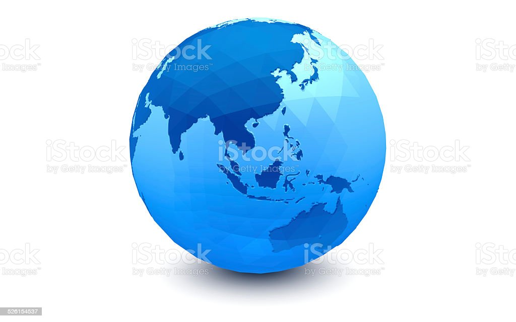 Blue Globe: Eastern Hemisphere  (faceted) stock photo