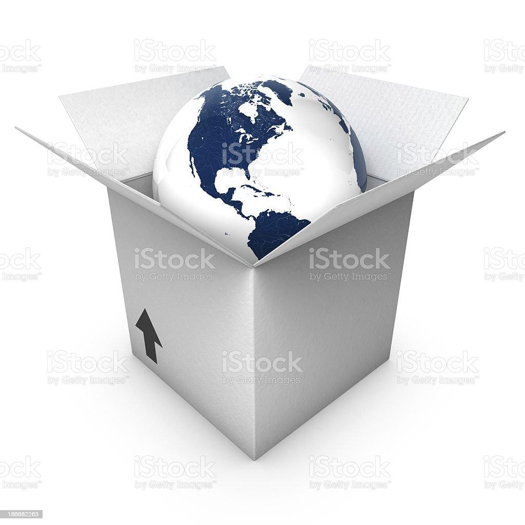 Globo azul em uma caixa foto royalty-free
