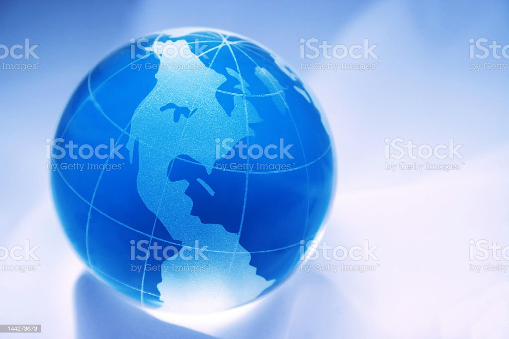blue globe north and south america stock photo