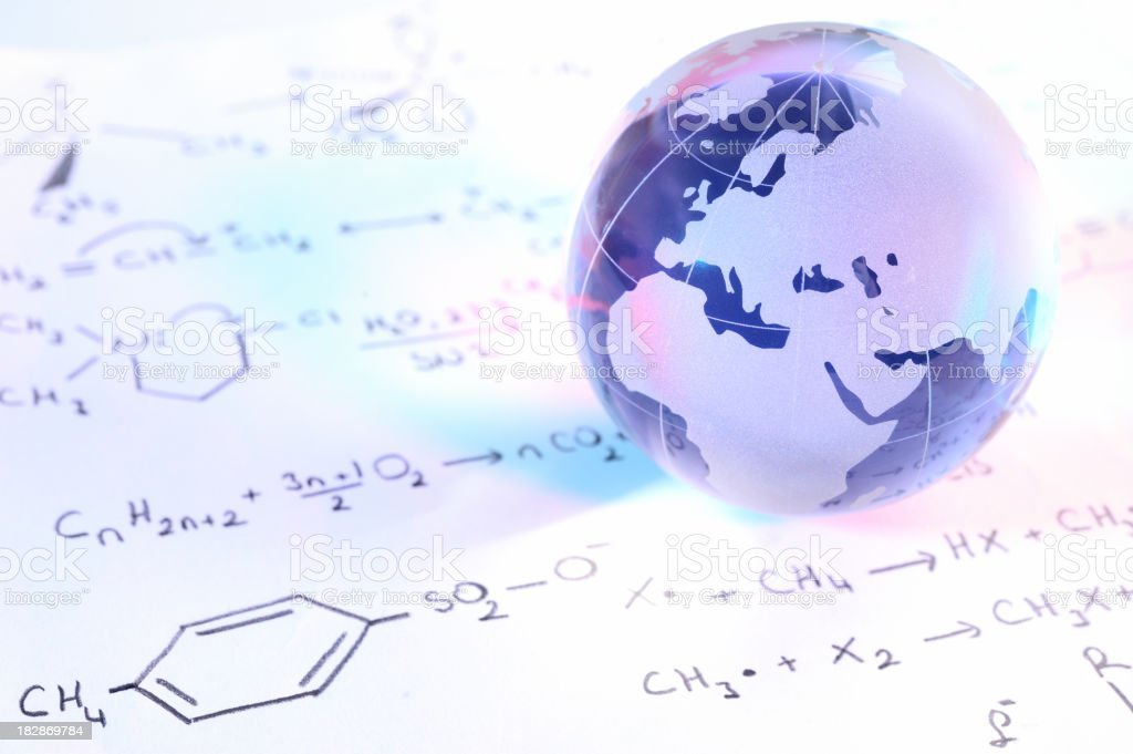 Blue globe on chemistry formulas royalty-free stock photo
