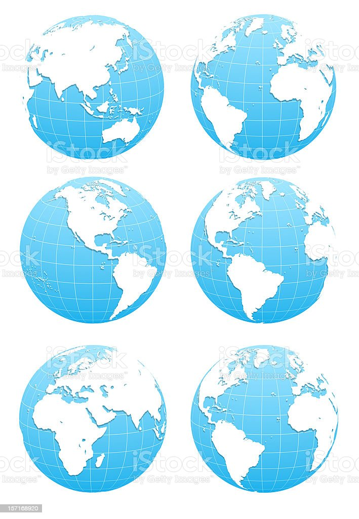 3D Blue Globe  ( include clipping path ) stock photo