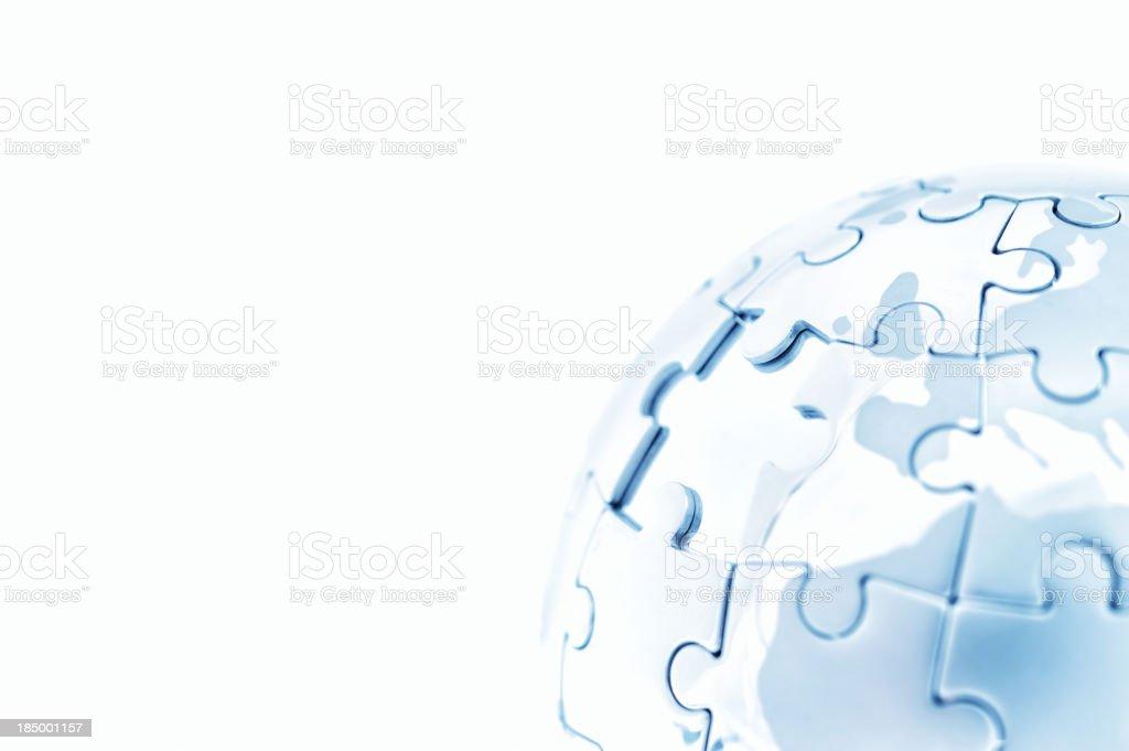 Blue globe puzzle stock photo