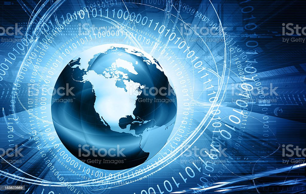 Blue globe surrounded by binary code stock photo