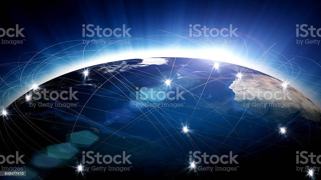 Blue globe surrounded by communication networks stock photo