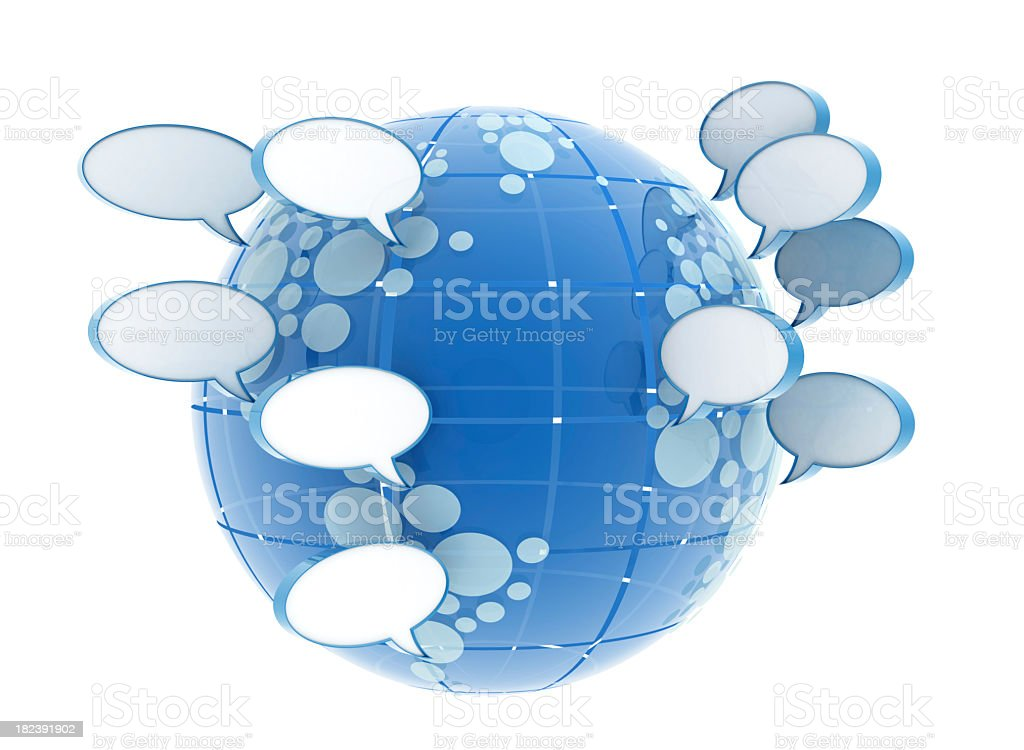 Blue globe surrounded by speech bubbles royalty-free stock photo