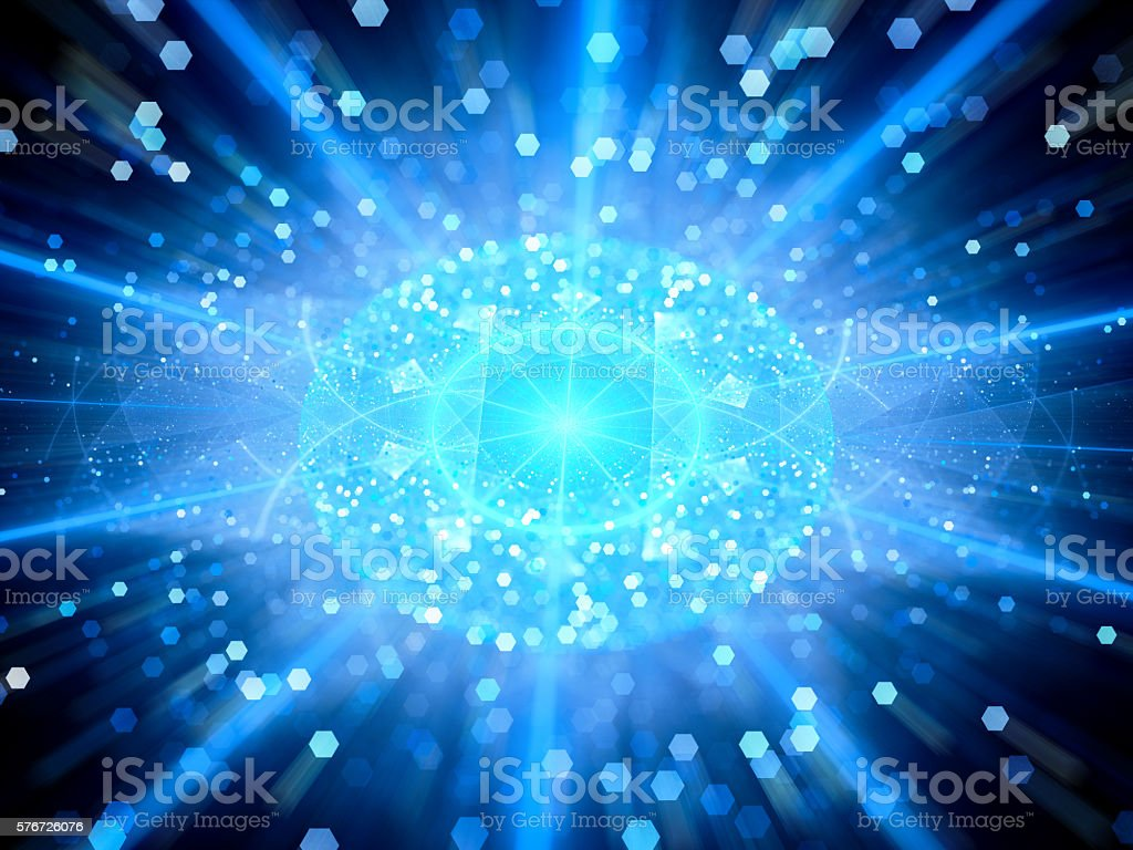 Blue glowing big data sphere with particles stock photo