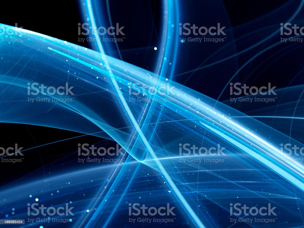 Blue glowing curves stock photo