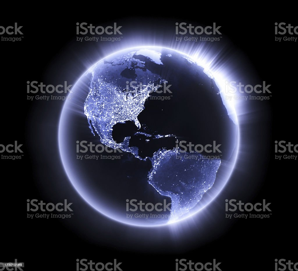 Blue glowing Earth [Americas] stock photo