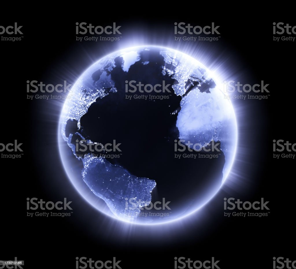 Blue glowing Earth [Atlantic Ocean] royalty-free stock photo