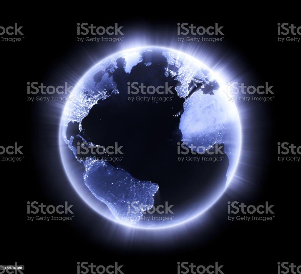 Blue glowing Earth [Atlantic Ocean] stock photo