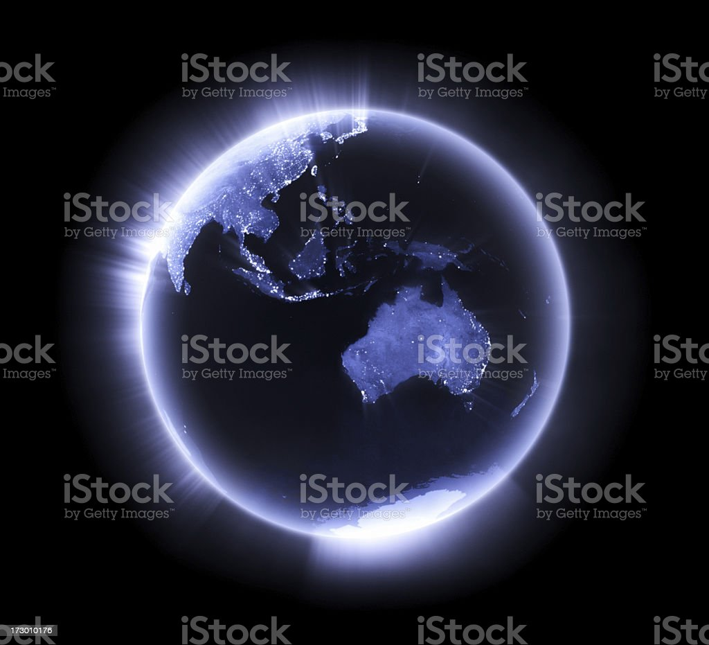 Blue glowing Earth [Australasia] stock photo