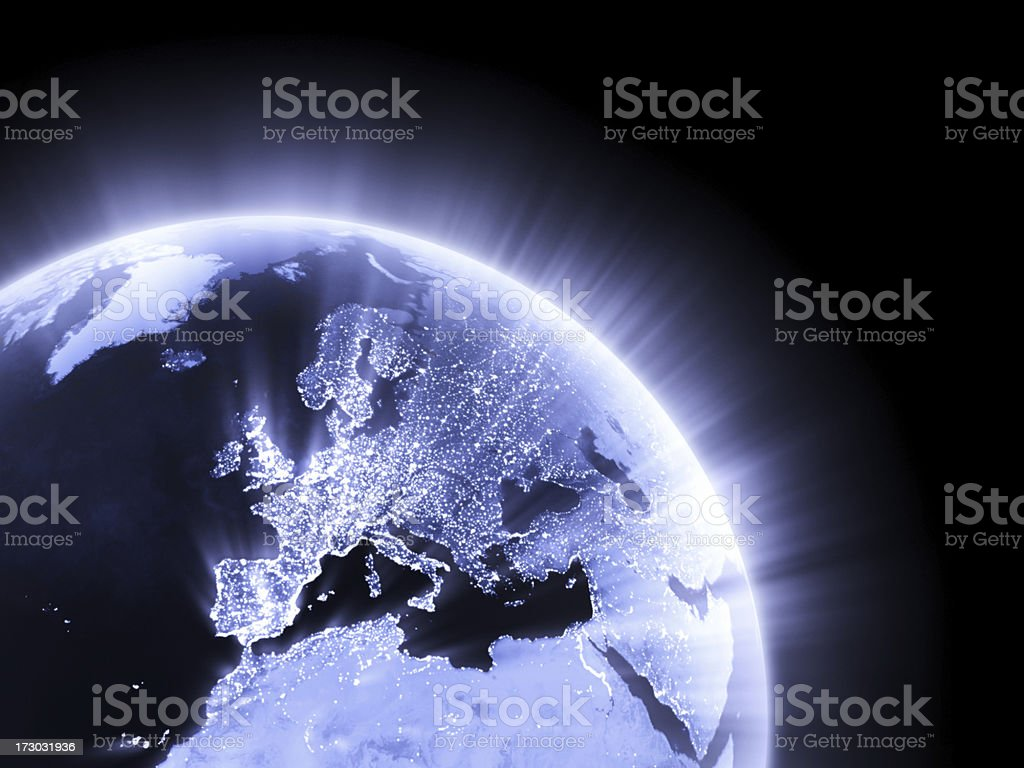 Blue glowing Earth crop [Europe] stock photo
