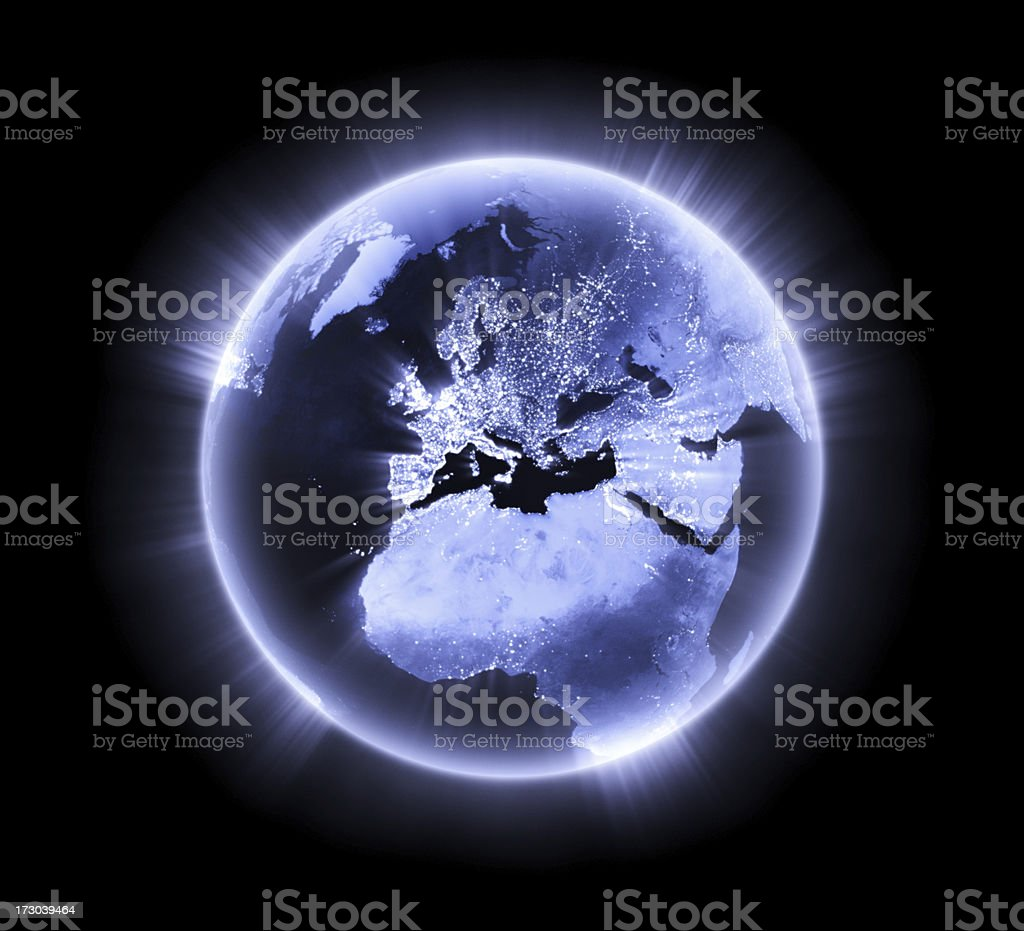 Blue glowing Earth [Europe] stock photo