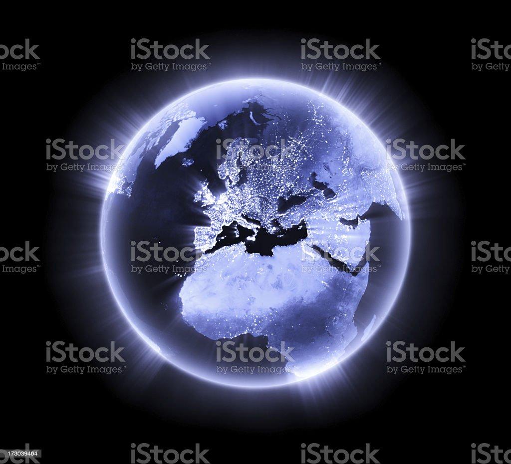 Blue glowing Earth [Europe] stock photo