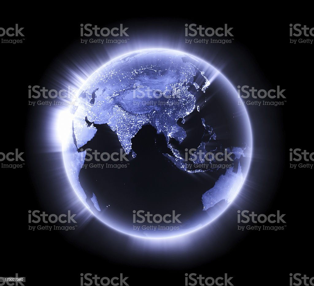 Blue glowing Earth [Lower Asia] stock photo