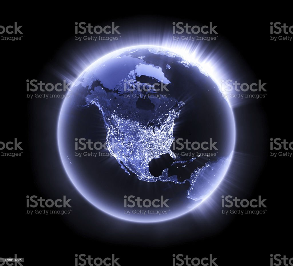 Blue glowing Earth [North America] stock photo