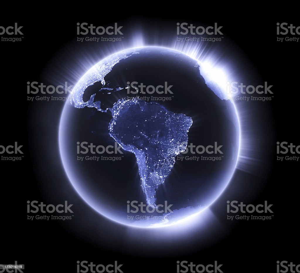 Blue glowing Earth [South America] stock photo