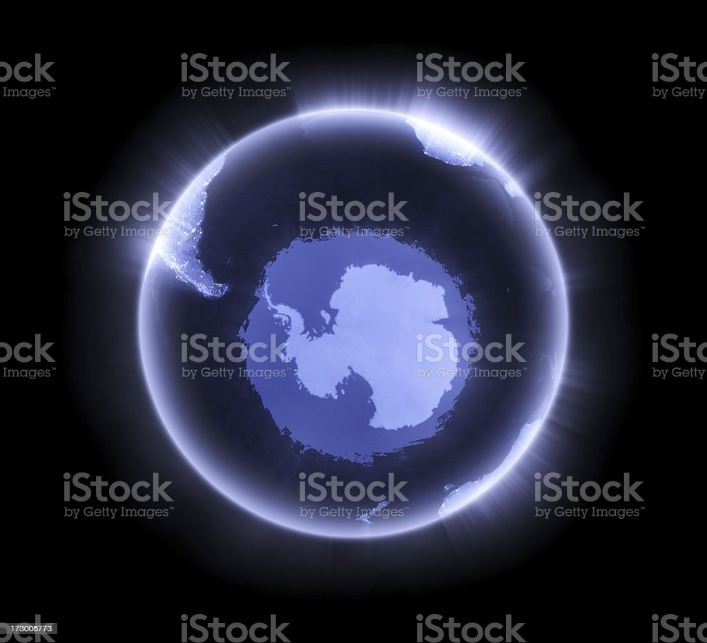 Blue glowing Earth [South Pole] stock photo