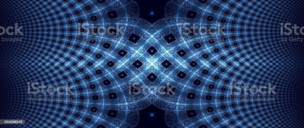 Blue glowing elliptic fractal stock photo