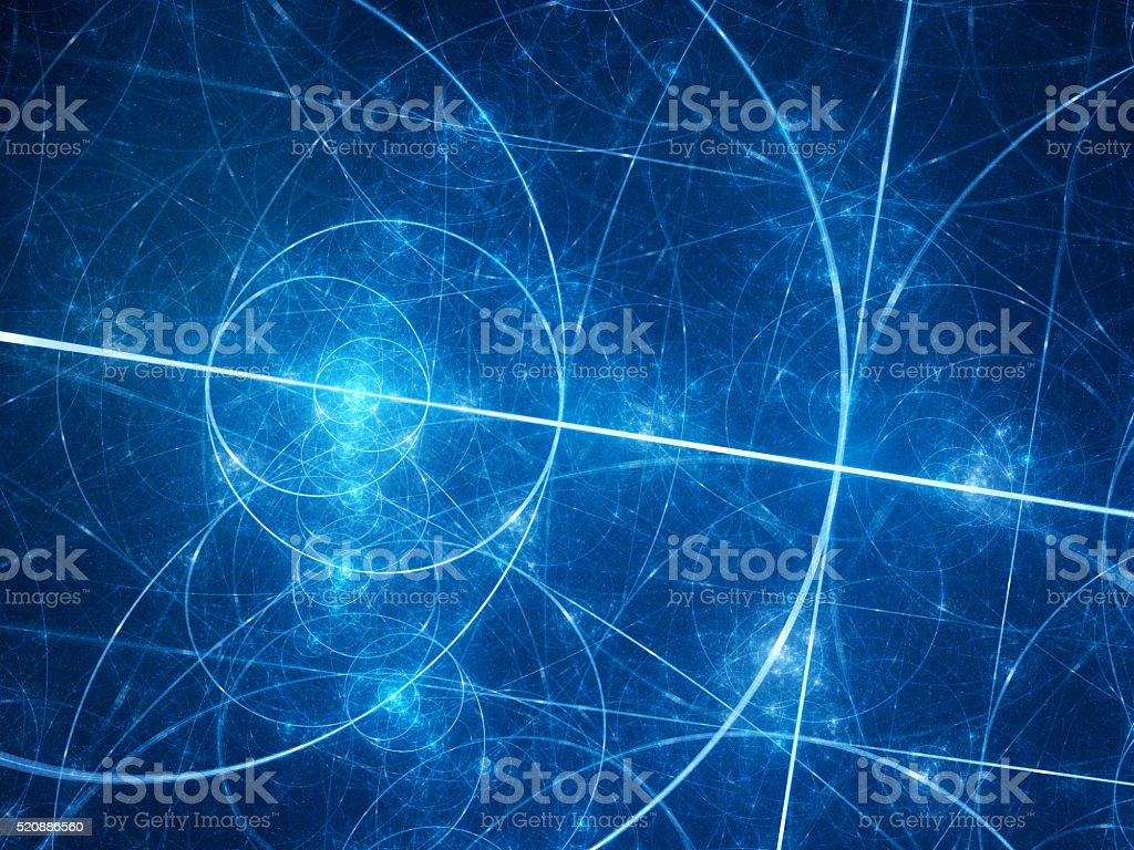 Blue glowing fibonacci circles in space stock photo