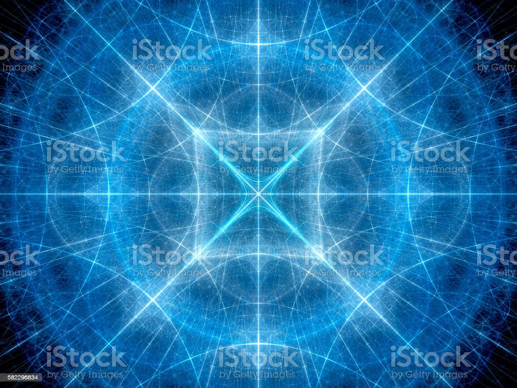 Blue glowing geometrical elements in space stock photo